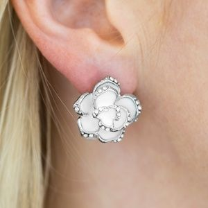 Rosebud Social - White Clip-On Earrings